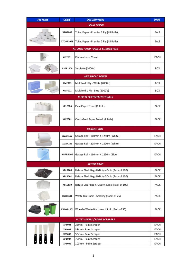 Paper Products, Refuse Bags & Consumables-1